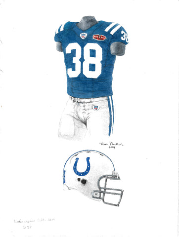 This is an original watercolor painting of the 2009 Indianapolis Colts uniform.