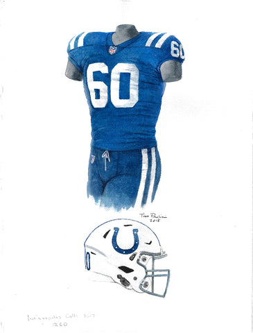 This is an original watercolor painting of the 2017 Indianapolis Colts uniform.