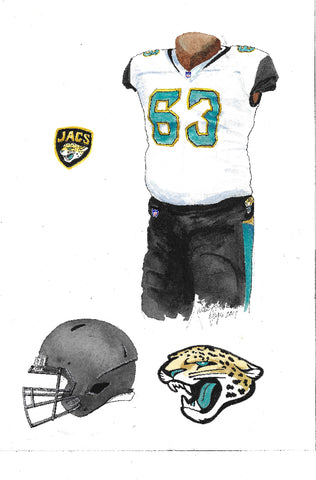 This is an original watercolor painting of the 2017 Jacksonville Jaguars uniform.