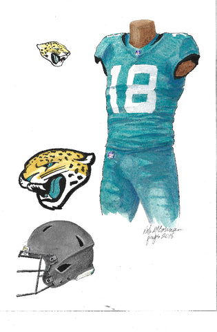 This is an original watercolor painting of the 2018 Jacksonville Jaguars uniform.
