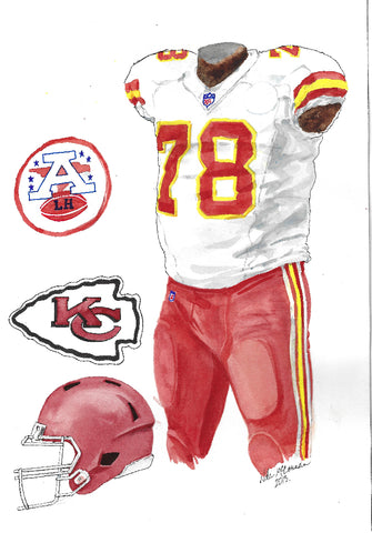 This is an original watercolor painting of the 2013 Kansas City Chiefs uniform.