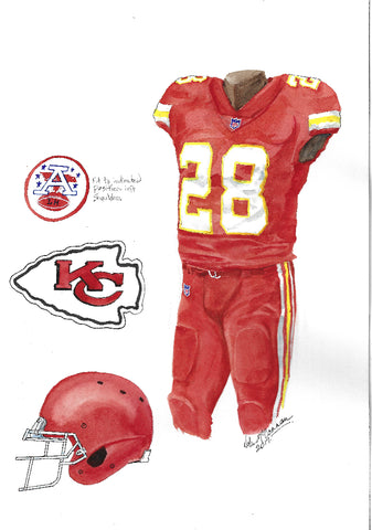 This is an original watercolor painting of the 2017 Kansas City Chiefs uniform.