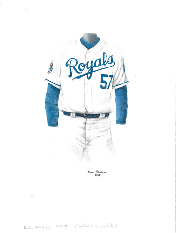 This is an original watercolor painting of the 2015 Kansas City Royals uniform.