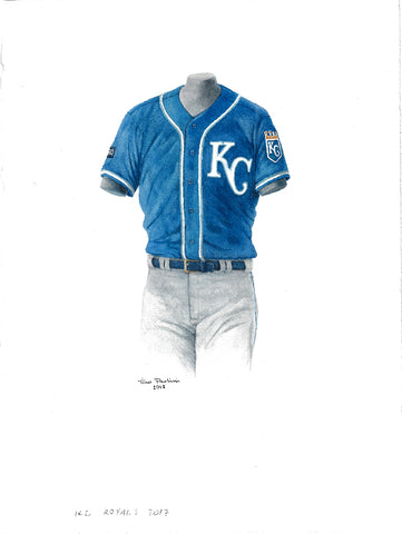 This is an original watercolor painting of the 2017 Kansas City Royals uniform.