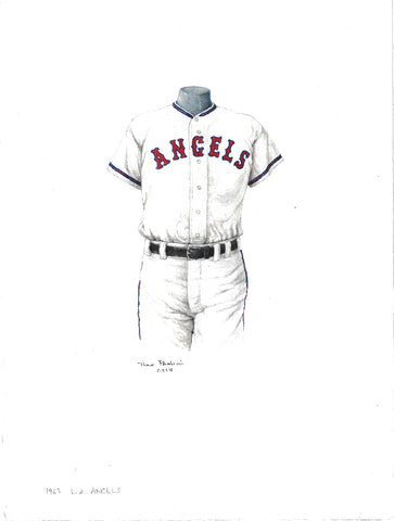 This is an original watercolor painting of the 1966 Los Angeles Angels uniform.