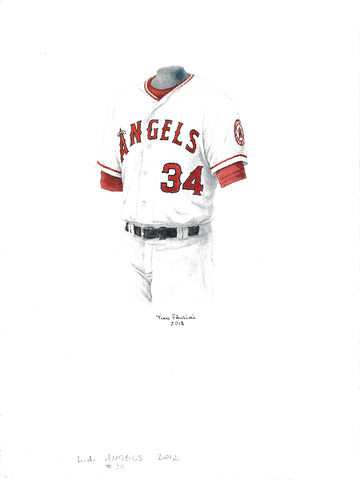 This is an original watercolor painting of the 2012 Los Angeles Angels uniform.