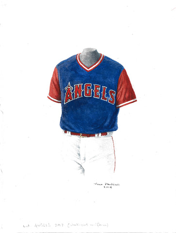 This is an original watercolor painting of the 2017 Los Angeles Angels uniform.