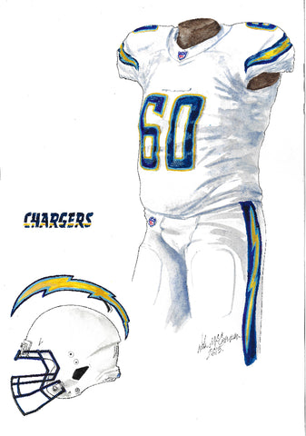 This is an original watercolor painting of the 2013 Los Angeles Chargers uniform.