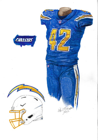 This is an original watercolor painting of the 2017 Los Angeles Chargers uniform.