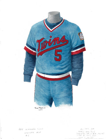 This is an original watercolor painting of the 1984 Minnesota Twins uniform.