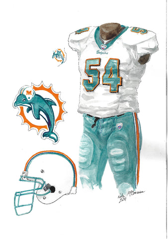 This is an original watercolor painting of the 2011 Miami Dolphins uniform.