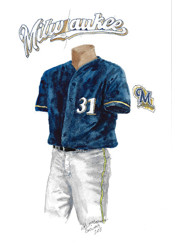 This is an original watercolor painting of the 2011 Milwaukee Brewers uniform.