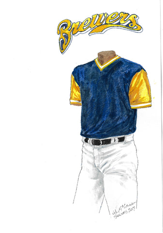 This is an original watercolor painting of the 2017 Milwaukee Brewers uniform.