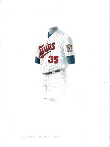 This is an original watercolor painting of the 2012 Minnesota Twins uniform.