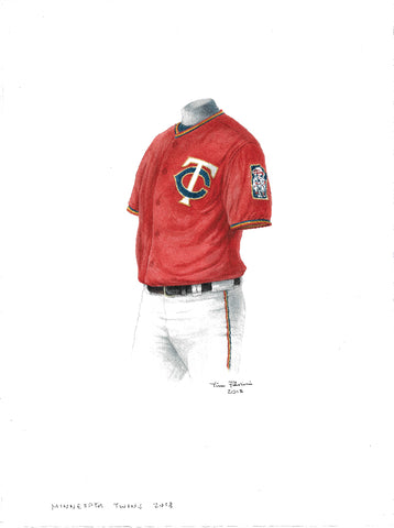 This is an original watercolor painting of the 2018 Minnesota Twins uniform.