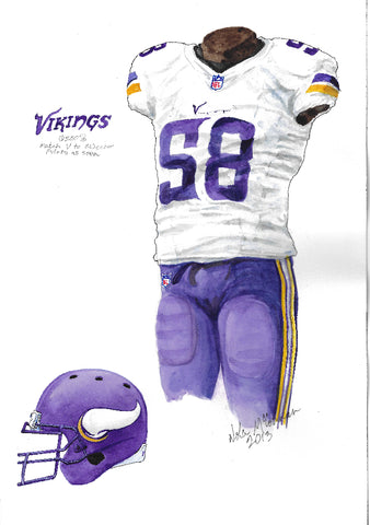 This is an original watercolor painting of the 2013 Minnesota Vikings uniform.