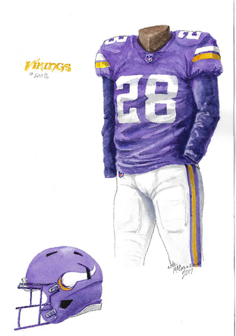 This is an original watercolor painting of the 2017 Minnesota Vikings uniform.