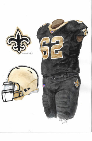 This is an original watercolor painting of the 2017 New Orleans Saints uniform.