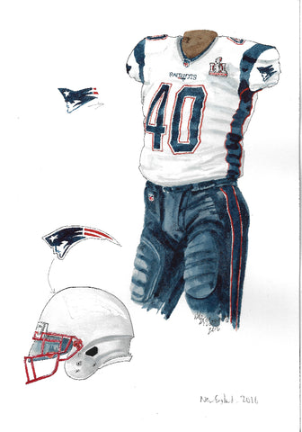 New England Patriots 2016 - Heritage Sports Art - original watercolor artwork