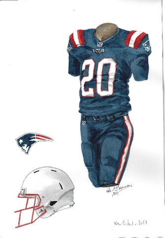 New England Patriots 2017 - Heritage Sports Art - original watercolor artwork