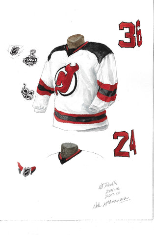 New Jersey Devils 2017-18 - Heritage Sports Art - original watercolor artwork