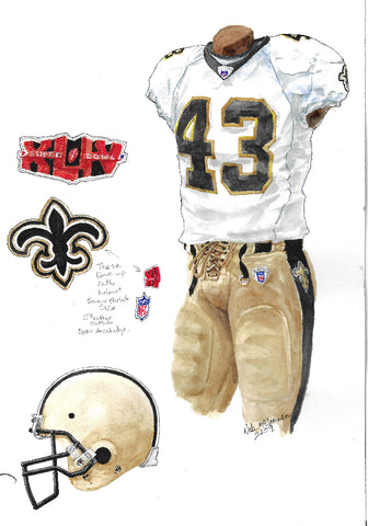 This is an original watercolor painting of the 2009 New Orleans Saints uniform.
