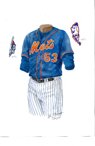 This is an original watercolor painting of the 2015 New York Mets uniform.