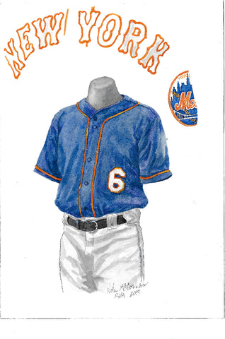 This is an original watercolor painting of the 2017 New York Mets uniform.