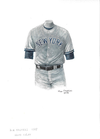 This is an original watercolor painting of the 1978 New York Yankees uniform.