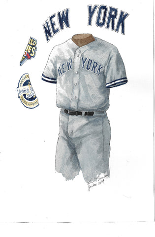 This is an original watercolor painting of the 2009 New York Yankees uniform.