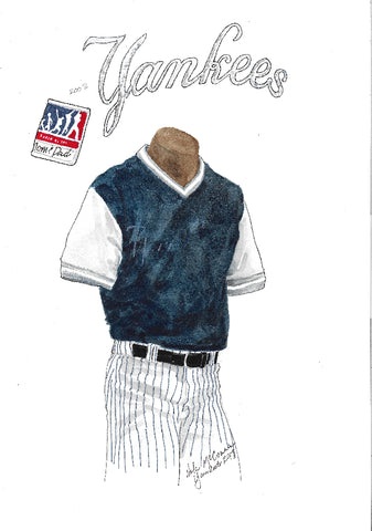 This is an original watercolor painting of the 2017 New York Yankees uniform.