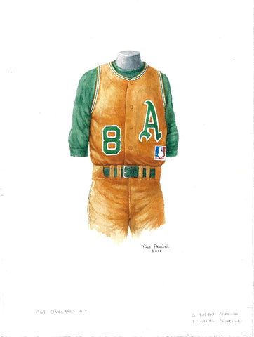 This is an original watercolor painting of the 1969 Oakland Athletics uniform.