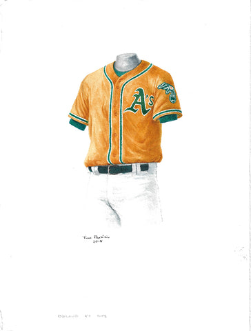 This is an original watercolor painting of the 2012 Oakland Athletics uniform.