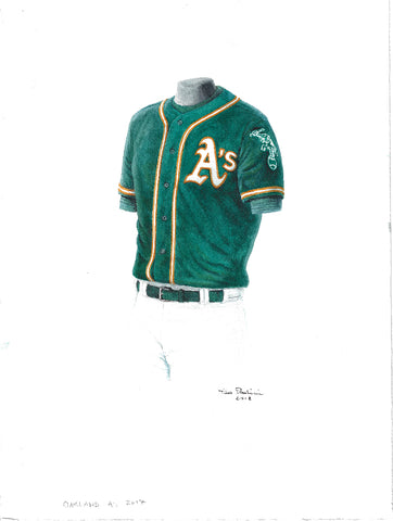 This is an original watercolor painting of the 2017 Oakland Athletics uniform.