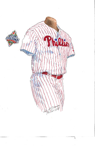 This is an original watercolor painting of the 2008 Philadelphia Phillies uniform.