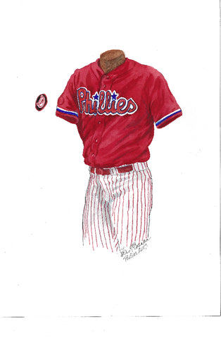 This is an original watercolor painting of the 2017 Philadelphia Phillies uniform.