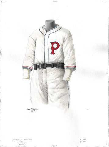 This is an original watercolor painting of the 1934 Pittsburgh Pirates uniform.