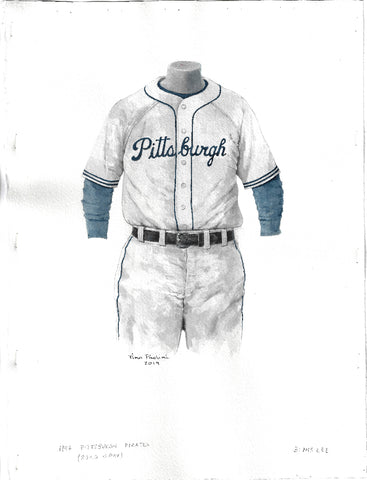 This is an original watercolor painting of the 1947 Pittsburgh Pirates uniform.