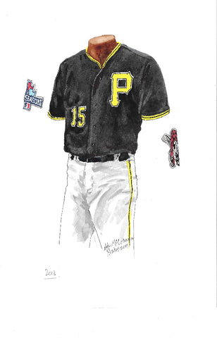 This is an original watercolor painting of the 2013 Pittsburgh Pirates uniform.