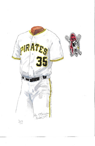 This is an original watercolor painting of the 2017 Pittsburgh Pirates uniform.