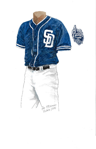 This is an original watercolor painting of the 2012 San Diego Padres uniform.