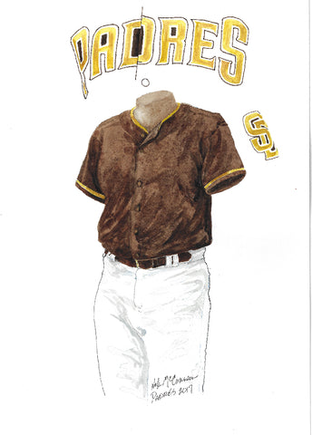 This is an original watercolor painting of the 2017 San Diego Padres uniform.