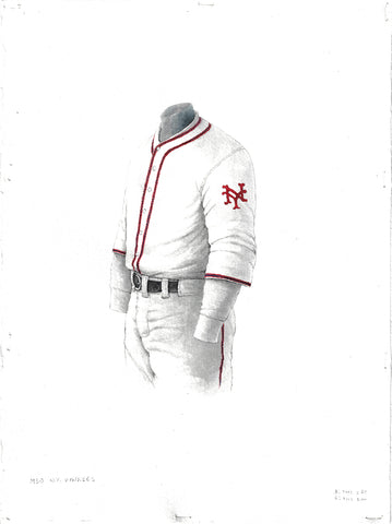 This is an original watercolor painting of the 1930 San Francisco Giants uniform.