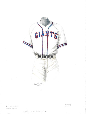 This is an original watercolor painting of the 1944 San Francisco Giants uniform.
