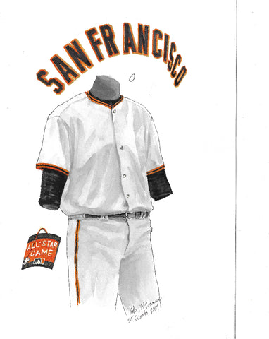 This is an original watercolor painting of the 2007 San Francisco Giants uniform.