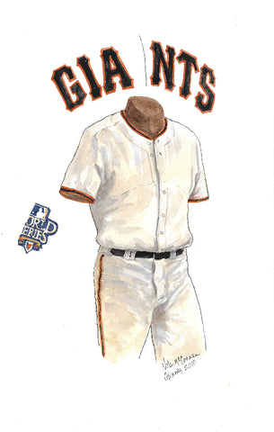 This is an original watercolor painting of the 2010 San Francisco Giants uniform.