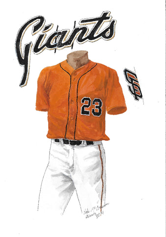 This is an original watercolor painting of the 2014 San Francisco Giants uniform.