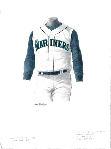 This is an original watercolor painting of the 1998 Seattle Mariners uniform.
