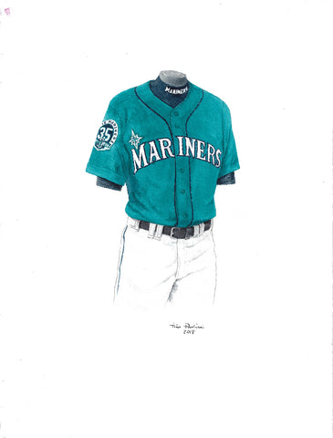 This is an original watercolor painting of the 2012 Seattle Mariners uniform.
