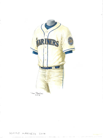 This is an original watercolor painting of the 2017 Seattle Mariners uniform.